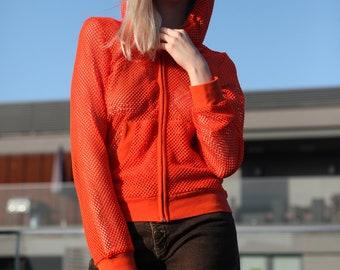 Vintage 90's Festival Orange Sheer Mesh Sweatshirt