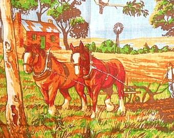 Vintage Pure Linen Tea Towel ~ Australian Farm Themed