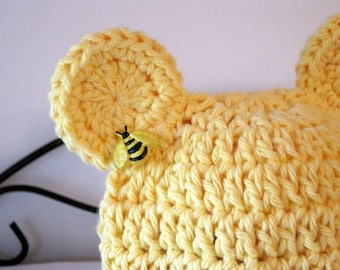 Baby Girl Hat, Crochet Baby Hat, Baby Bear Hat, Crochet Bear Hat, Baby Animal Hat, Baby Beanie, Newborn Hat, Infant Hat, Yellow