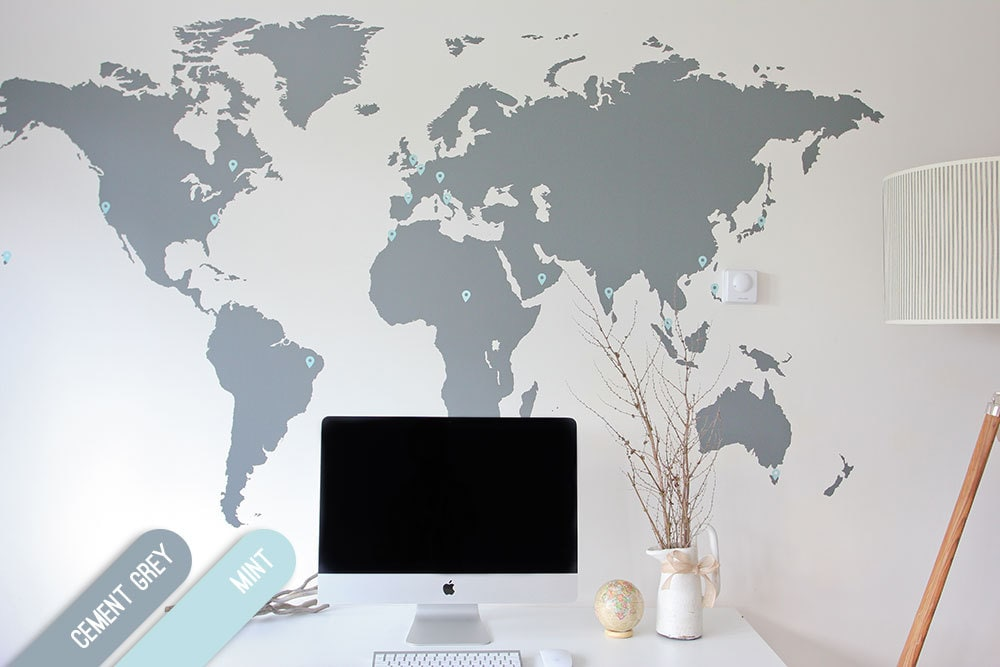7 x 4 ft world map decal large world map vinyl wall zoom gumiabroncs Gallery