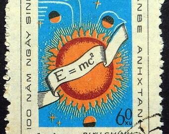 Albert Einstein 1879-1979, Equations -Handmade Framed Postage Stamp Art 22295AM