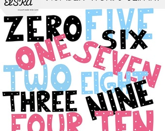 Number words clipart (word art)