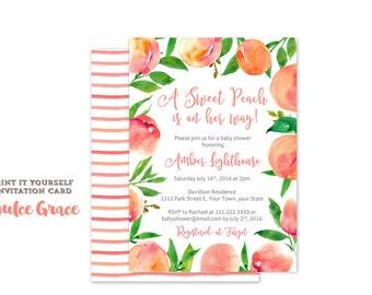 Sweet Peach baby shower invitations, Little peach on the way invites, Peaches baby shower invitation, printable pdf, summer baby shower, SPE