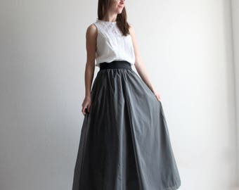 Long skirt, maxi skirt, edwardian skirt, grey skirt, bridesmaids skirt, silk skirt, evening skirt, high waist skirt, prom skirt, flare skirt