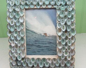 Beach Decor - Blue Limpet Shell Frame - Seashell Frame - Coastal Home Decor - Seashells - Beach Decor - Shell Frame