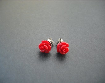 lovely red rose post earring