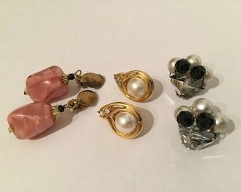 Lot Pairs Clip on Vintage Earrings - Crystal Earrings - Faux Pearl - Rhinestone