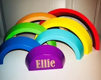 Personalised Wooden Rainbow Toy