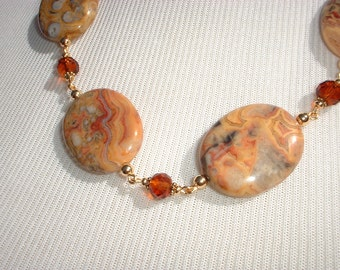 Golden Agate and Czech Glass Necklace