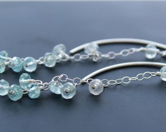 Aquamarine threader earrings, March birthstone gift. Sterling silver thread earrings, long chains and genuine shaded Aquamarine. Graduation