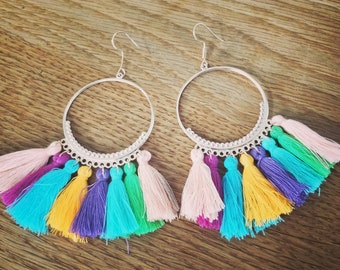 Multi Colour Tassle Earrings/Bright Coloured Earrings/Tassle Earrings