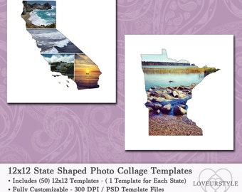 12x12 State Shaped Photo Collage Template Pack, Includes All 50 States,  Scrapbook Templates, Album Templates, Photography Templates, Design