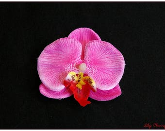Pink artificial orchid flower for hair clip