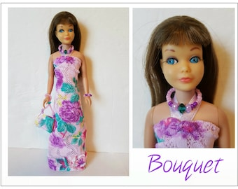 Vintage SKIPPER & SKOOTER Doll Clothes - BOUQUET Dress, Purse and Jewelry - Custom Fashion - by dolls4emma