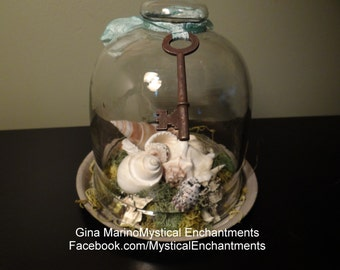Sea Shell glass cloche with hand dyed ribbon and rusty key