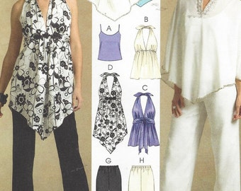 Womens Camisole, Halter Top or Tunic, Lined Ponchos & Pants McCalls Sewing Pattern M5048 Size 14 16 18 20 Bust 36 38 40 42 UnCut
