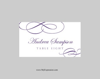 Wedding Place Cards Template – Calligraphic Flourish (Purple) - Instant Download - Editable MS Word File