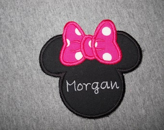 Made to order ~ Personalized Pink Miss Mouse iron on or sew on applique patch