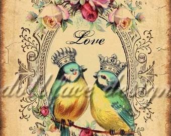 INSTANT Digital DOWNLOAD - DIY Printable Victorian Love Birds - Valentine - Wedding - Anniversary - Antique Crowns and Roses