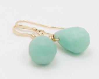 14K gold fill wire wrapped amazonite drop earrings, green gemstone jewelry