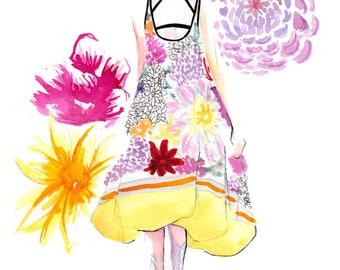 Mary Katrantzou Spring 2018 Art Print Fashion Illustration, Fashion Sketch, Fashion Art, Watercolour Illustration