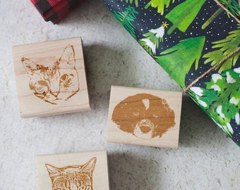 Pet Portrait, Custom Pet Stamp, Pet Christmas Rubber Stamp, Christmas Stamp, Dog Stamp, Cat Stamp, Personalized Pet Stamp, Pet Christmas