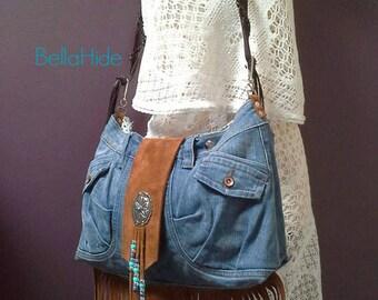 Denim suede bag, boho festival bag, brown fringed bag,, leather handbag, bohemian bag, large tan hippie bag, fringe gypsy bag, crossover bag