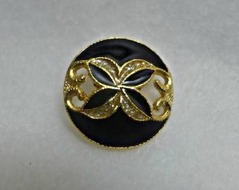 6 enamel, metal,  black, gold, buttons, 22 mm