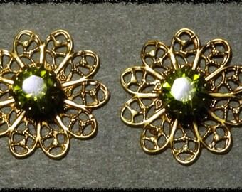 1 Pair of Antique Brass Filigree Flowers with Olivine Swarovski Stones.