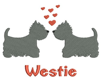 Instant download dogs westie embroidery design machine