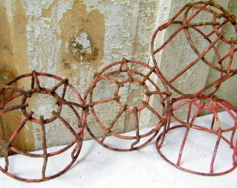 4 Rusty Old Industrial Factory Salvage Metal Wire Cage Sprinkler Head Guards