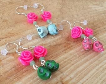 Skulls & Flowers earrings - Earrings with skulls and flowers