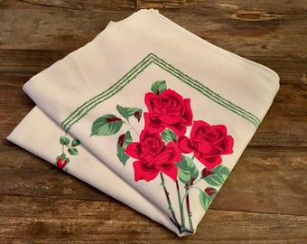 Vintage Red Rose Floral Tablecloth   1950s Retro Tablecloth   Floral Tablecloth   Vintage Linen   Teatime Tablecloth   Luncheon Linens