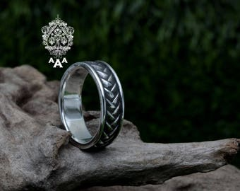 Pattern Ring,Dragon Scales Ring,Sterling Silver 925 Black oxidize.