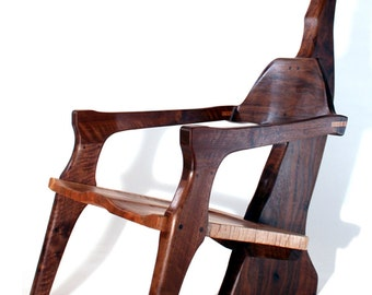 Sculptural walnut chair