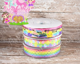 Easter Chicks on Multicolored Rainbow 7/8 inch Ribbon