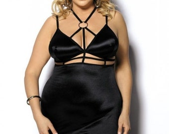 Exceptional Chemise of shiny silk satin plus size