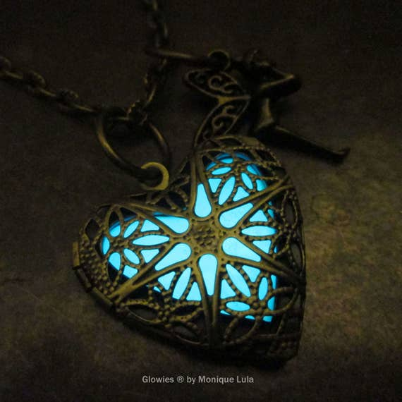 Heart of the Fairy Glow Locket Steampunk Magic Wings