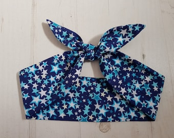 Blue Star Rockabilly Head Scarf - Wired or Not - Tattoo Hair Tie White Hairband