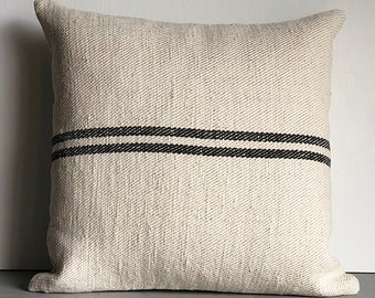 Vintage Handwoven European Grain Sack Pillow Cover/GEORGIA 18 x 18
