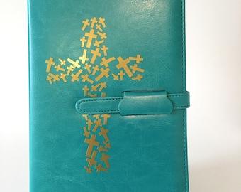 Journal- Crosses in cross (turquoise)