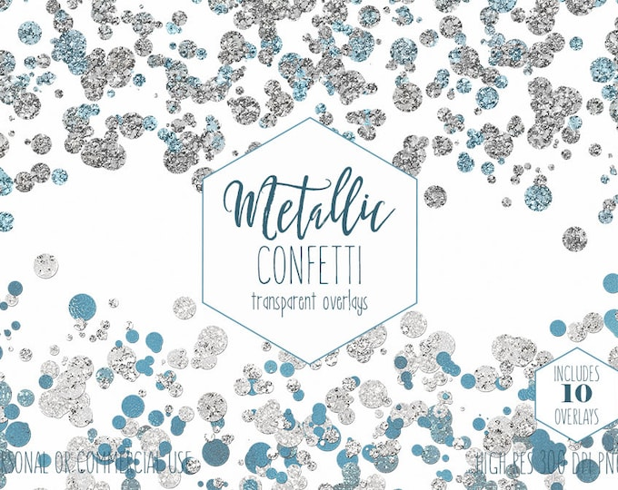 SILVER CONFETTI BORDERS Clipart Commercial Use Party Clip art Transparent Overlays Blue Metallic Foil Wedding Invitation Digital Graphics