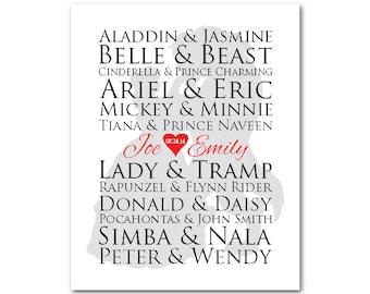 Customizable famous couples PRINT - wall art - wedding memento - Wedding, Engagement, Anniversary gift  - anniversary gift for women