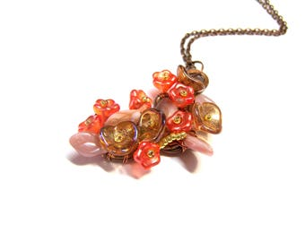 ON SALE Rose Pendant Orange Pendant Top Selling Jewelry Assemblage Art Wire Pendant Flower Pendant gift for mom, mother's day gift, gifts