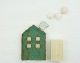 soap dish, ceramic green house, ceramic soap dish, soap holder, draining soap dish