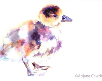 Duckling Card, Gosling, New Baby, Baby shower, Watercolour bird, Watercolor painting, Nursery decor, Card for nature lover, cute chick card