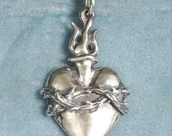 Sacred Heart Sterling Silver Pendant