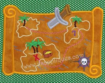 Treasure Map Embroidery Applique Design Pirate Treasure Map 5x7, 6x10 hoop - Instant Download
