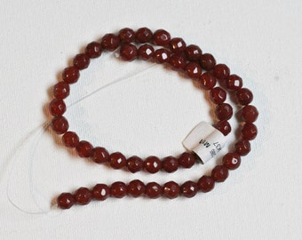 Carnelian Faceted Beads, 7mm