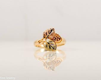 Landstrom 10k Black Hills Gold Ring Rose Green Yellow Promise Teen Mom Gift